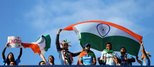 Indian fans cheer their team on, India v Pakistan, Champions Trophy, Group B, Edgbaston, June 15, 2013