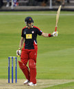 Stephen Moore raises his bat after reaching fifty, Lancashire v Scotland, Yorkshire Bank 40, Group B, Old Trafford, June 18, 2013