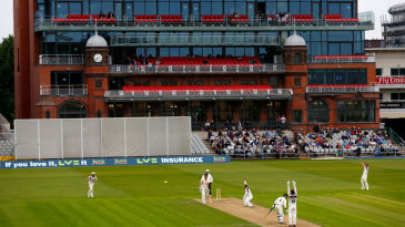 The new pavilion provides the backdrop at Old Trafford