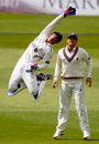 Alex Barrow leaps for a take, Derbyshire v Somerset, County Championship, Division One, Derby, 1st day, June 21, 2013
