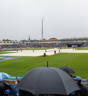 The pitch at Edgbaston is covered after a rain delay, England v India, Champions Trophy final, Edgbaston, June 23, 2013