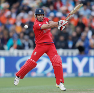 Ravi Bopara plays to the off side off his toes, England v India, Champions Trophy final, Edgbaston, June 23, 2013