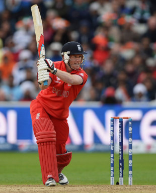 Eoin Morgan drives through the off side, England v India, Champions Trophy final, Edgbaston, June 23, 2013