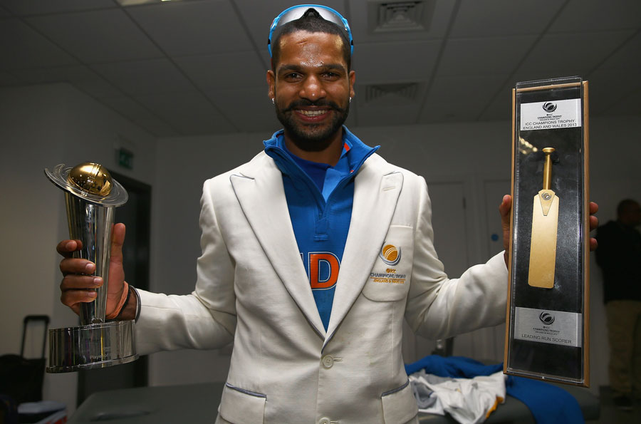 Shikhar Dhawan with his player of the tournament and golden bat awards | Photo | ICC Champions Trophy | ESPNcricinfo.com