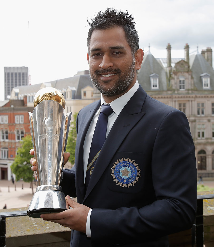 MS Dhoni With The Champions Trophy