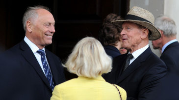 Colin Graves and Geoffrey Boycott attend Tony Greig's memorial service