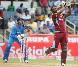 Johnson Charles goes over the top, West Indies v India, West Indies tri-series, Kingston, June 30, 2013
