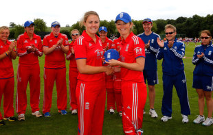 Natalie Sciver receives her first cap from Charlotte Edwards, England v Pakistan, 1st women's ODI, Louth, July 1, 2013