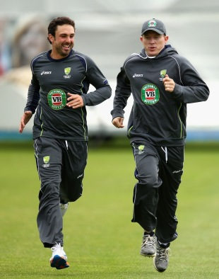 Ed Cowan and Chris Rogers during a training session, Worcester, July 1, 2013