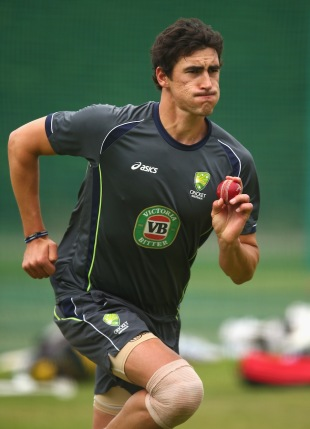 Mitchell Starc prepares to bowl in the nets, Worcester, July 1, 2013