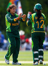 Sumaiya Siddiqi celebrates bowling Charlotte Edwards, England v Pakistan, 1st women's ODI, Louth, July 1, 2013