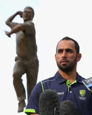 Fawad Ahmed talks to the media, Melbourne Cricket Ground, July 2, 2013