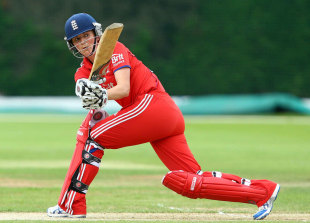 Charlotte Edwards sweeps during her innings of 62, England v Pakistan, 2nd women's ODI, Loughborough, July 3, 2013