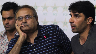 Mohammad Hafeez, Iqbal Qasim and Misbah-ul-Haq at the Pakistan squad announcement