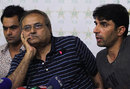 Mohammad Hafeez, Iqbal Qasim and Misbah-ul-Haq at the Pakistan squad announcement for West Indies, Lahore, July 3, 2013