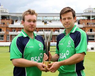 Paul Stirling and Ed Joyce launch the RSA Challenge which will be played against England, Lord's, July 3, 2013