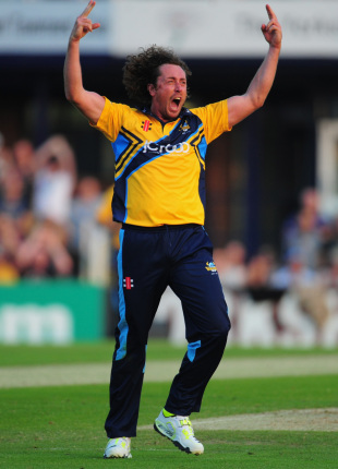Ryan Sidebottom shows his emotions as the Roses match is tied, Yorkshire v Lancashire, FLt20, North Group, Headingley, July 5, 2013