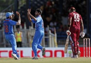 Bhuvneshwar Kumar picked up three wickets, West Indies v India, West Indies tri-series, Port of Spain, July 5, 2013