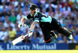 Jason Roy dives for his ground during the match top-score of 52, Surrey v Middlesex, FLt20, South Group, The Oval, July 5, 2013