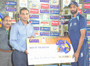 Shabbir Ahmed collects the Man-of-the-Match award, Pakistan International Airlines v United Bank Limited, Ramadan T20 Cup, Karachi, July 7, 2013