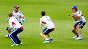 Joe Root joins Matt Prior, Graeme Swann and Alastair Cook for slip catching practice