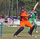 Daan van Bunge cuts the ball during his innings of 45, Netherlands v Ireland, WCL Championship, Amstelveen, July 9, 2013