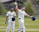 Ewan Chalmers celebrates his maiden first-class hundred, Scotland v Kenya, ICC Intercontinental Cup, 3rd day, Aberdeen, July 9, 2013