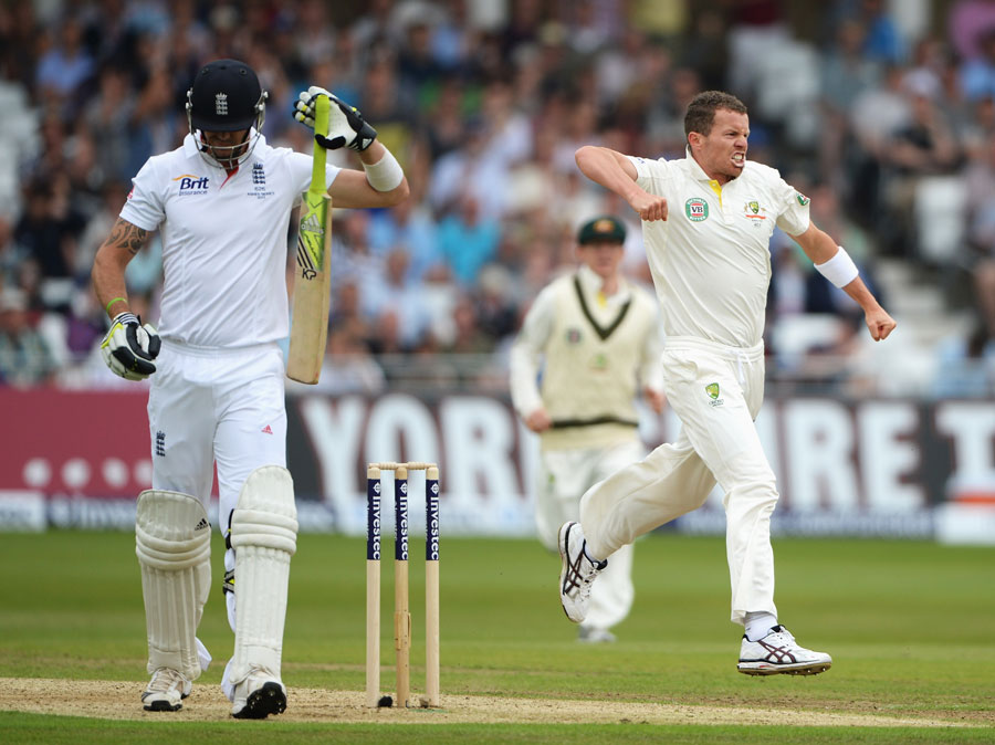 Siddle after dismissing Pietersen early. Courtesy - ESPNCricinfo