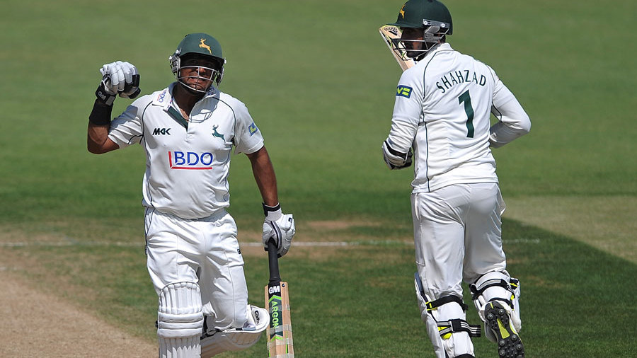 Samit Patel punches the air on reaching his hundred