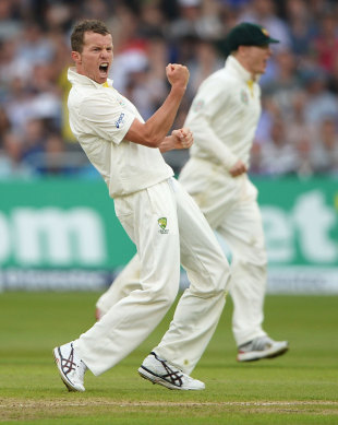 Peter Siddle was pumped after taking his fifth wicket, England v Australia, 1st Investec Test, Trent Bridge, 1st day, July 10, 2013