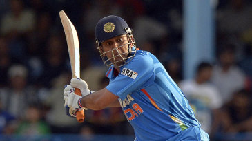 MS Dhoni is set to launch the ball out of the ground