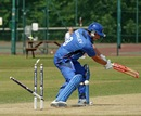 Damian Crowley was bowled for 13, Austria v Italy, European Championship Division One, Group A, Horsham, July 12, 2013