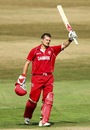Freddie Klokker celebrates his hundred, Denmark v Guernsey, 2nd semi-final, ICC European Championship Division One, Hove, July 13, 2013