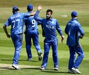 Carl Sandri celebrates a wicket with team-mates, Italy v Jersey, 1st semi-final, ICC European Championship Division One, Hove, July 13, 2013