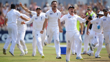 James Anderson sets off after Brad Haddin is given out on review
