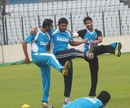 Mosharraf Hossain, Shahriar Nafees and Farhad Reza during training, Mirpur, July 14, 2013