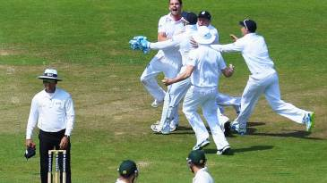 Contrasting emotions: England celebrate as Australia's batsmen look on