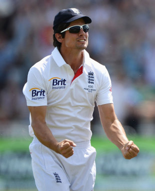 Alastair Cook pumps his fists after England clinch victory, England v Australia, 1st Investec Test, Trent Bridge, 5th day, July 14, 2013