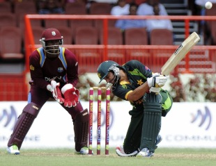 Shahid Afridi scoops the ball fine, West Indies v Pakistan, 1st ODI, Providence, July 14, 2013