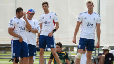 Tim Bresnan, Steven Finn and Chris Tremlett practise in the nets