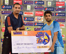 Zain Abbas receiving the Man-of-the-Match award, Khan Research Labs v National Bank of Pakistan, Ramadan T20 Cup, Group B, Karachi, July 16, 2013