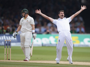 James Anderson trapped Shane Watson lbw in the second innings at Lord's