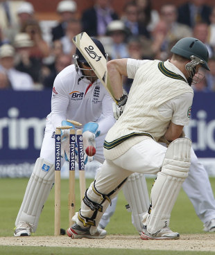 Chris Rogers loses his off stump, England v Australia, 2nd Investec Test, Lord's, 4th day, July 21, 2013