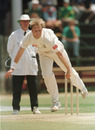 Brett Schultz bowls, Zimbabwe v South Africa, Harare Sports Club, 15 October 1995
