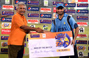 Imran Nazir receiving his Man-of-the-Match award, Zarai Taraqiati Bank Limited v National Bank of Pakistan, Ramadan T20 Cup, Karachi, July 22, 2013