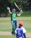 Clare Shillington celebrates her century, Ireland Women v Japam Women, ICC Women's World T20 qualifiers, Group B, Dublin, July 23, 2013