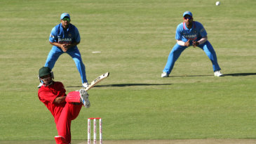 Sikandar Raza swivels and plays the ball to the leg side