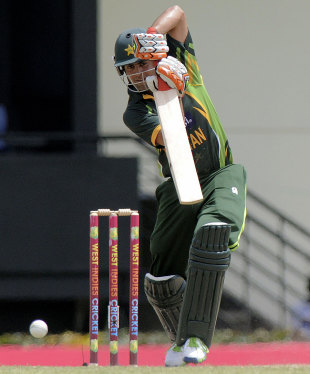 Ahmed Shehzad drives straight during his 64, West Indies v Pakistan, 5th ODI, St Lucia, July 24, 2013