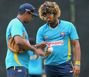 Lasith Malinga in  discussion with Sri Lanka bowling coach Chaminda Vaas, Pallekele, July 25, 2013