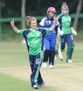 Lucy O'Reilly celebrates a wicket, Ireland women v Japan women, ICC Women's World T20 Qualifiers, Group B, Dublin, July 23, 2013